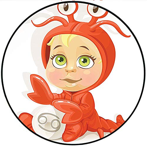 Short Plush Round Carpet Astrology Funny Baby Cancer Sign with Claws and Four Eyes Joy Kids Happiness On Stars Decoration Red Used in a Variety of venues 78.4