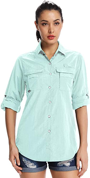 Image ofJessie Kidden PFG - Camiseta de senderismo de manga larga para mujer, UPF 50+, absorbe la humedad, protección solar UV, camisas safari