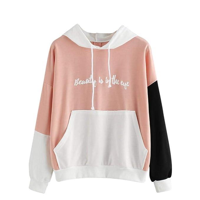 Btruely Herren ❤ Sudaderas Mujer con Bolsillo Tops de Cuello O de Mujer Blusa de Patchwork Camisa de Manga Larga Pullover Sweatshirt