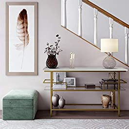 CosmoLiving Lennox Modern Design Console Table Faux Marble Top Warm Gold Frame and Tempered Glass, White – Brass