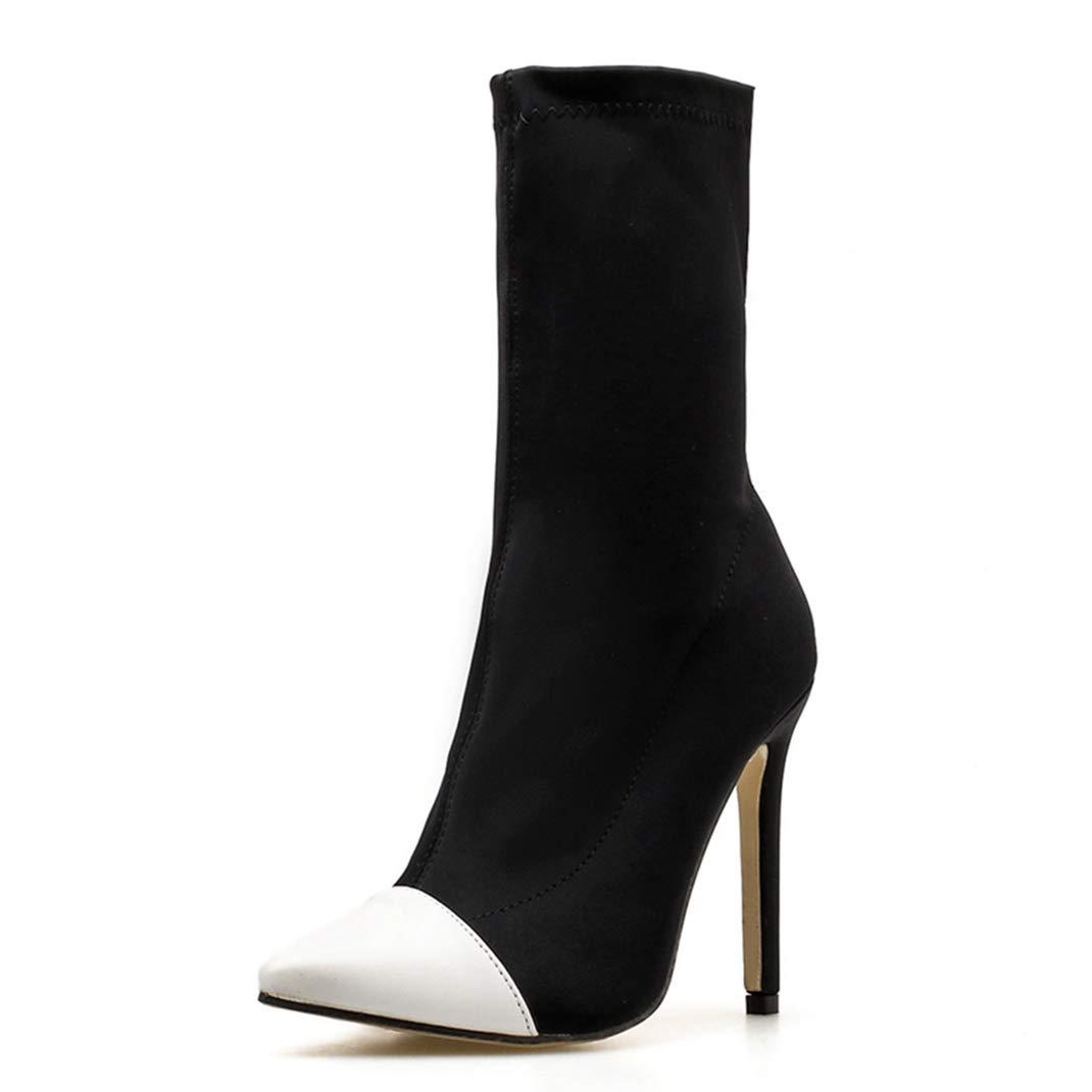 Damen Stiefeletten Slip-On Thin Heels Elastic Fashion Sexy Spitzschuh Short Stiefel