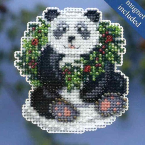 Holiday Panda Mill Hill Beaded Counted Cross Stitch Kit MH18