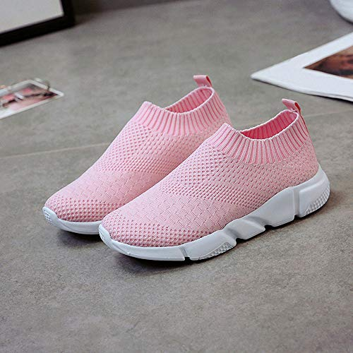on FNKDOR Damen Rosa Sportschuhe Casual Slip Schuhe Sneaker Mesh Slipper Pa10r1qwF