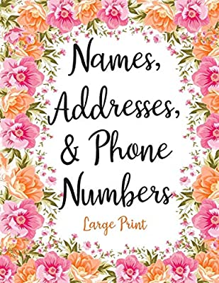 picture relating to Cute Printable Address Book called Names Handles Cellphone Quantities Enormous Print: Lovable Purple