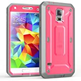 Galaxy S5 Case, SUPCASE [Heavy Duty] Samsung Galaxy S5 Case [Unicorn Beetle PRO Series] Full-body Rugged Case with Built-in Screen Protector (Pink/Gray), Dual Layer Design + Impact Resistant Bumper