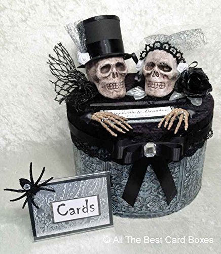 Gothic Wedding Card Box Halloween Decor Skull Bride And Groom Handmade