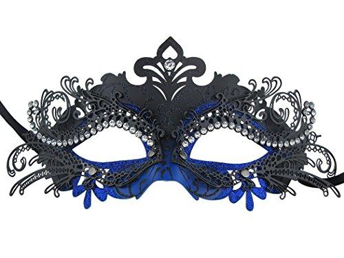 Princess Metal Rhinestone Venetian Pretty Party Evening Prom Masquerade Mask (Black-Blue)