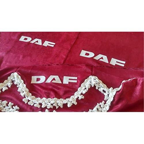 Lot de 3Rouge Rideaux Blanc avec franges Taille universelle pour tous les modèles Camion DAF XF CF LF Accessoires Décoration Tissu Peluche