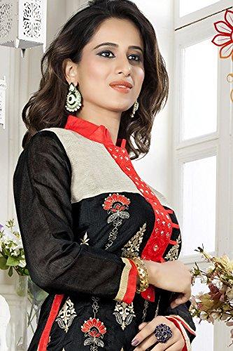 Da Facioun Femmes Indiennes Partie Designer Porter Anarkali Salwar Kameez Traditionnel Chanderi Noir