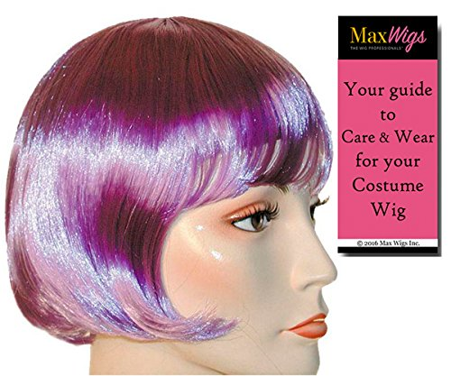 Bargain Lulu 1920s Color Light Purple - Lacey Wigs Flapper Short Bob Louise Brooks Theatrical Chicago Bundle With MaxWigs Costume Wig Care Guide ()