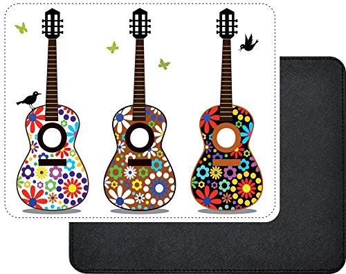Rikki Knight Hippy 60's Flower Power Guitars Design Faux Leather Rectangular Mouse Pad ()