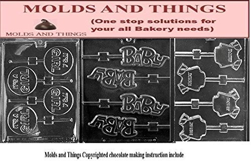 (It's a Girl Lolly Chocolate Candy Mold, Baby Shower Soap Mold Baby Onesie Soap chocolate candy mold Mold With Molding Instruction)