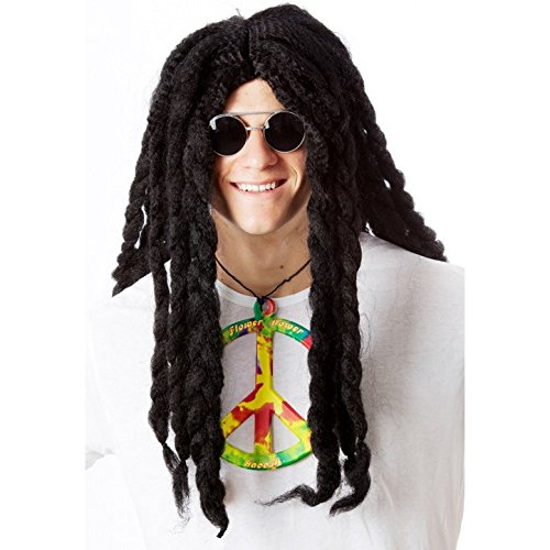Dreadlocks Wig - Reggae Wig for Guys, Girls, Children - 2 Colors - #1 Reggae Hippie Rasta Wig (Halloween Dreadlocks)