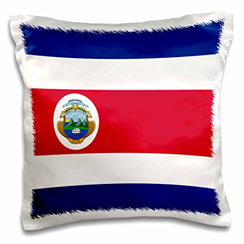 InspirationzStore Flags - Flag of Costa Rica - Central America - Costa Rican red white dark blue with Tico coat of arms ensign - 16x16 inch Pillow Case (pc_158298_1) (Coat Of Arms Dark T-shirt)