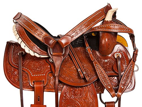 Pleasure Trailすべて目的Western Leather Tooled Barrel Racing Ranch Work Horseサドルフリータックセットサイズ14 15 16 14  B078X174DK
