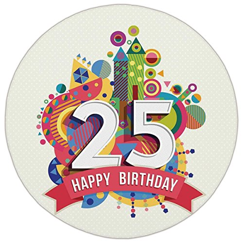 Round Area Rug Mat Rug,25th Birthday Decorations,Fun Celebration Greeting Card Inspired with Number Text Label,Multicolor,Home Decor Mat with Non Slip Backing (Label Flannel)