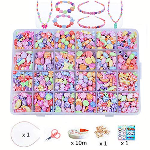 Lependor Beads Set for Jewelry Making Kids Adults Children Craft DIY Necklace Bracelets Letter Alphabet Colorful Acrylic Crafting Beads Kit Box with Accessories