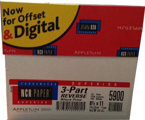 NCR Carbonless Paper REVERSE 3 Part 10 Reams 5010 Sheets 1 Case by NCR