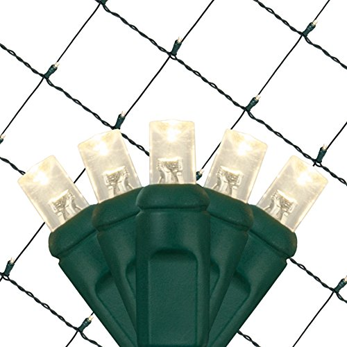 - Set of 100 LED Net Lights –Christmas Net Lights, Outdoor Christmas Decorations, Green Wire (4 x 6 ft, Warm White/Green)