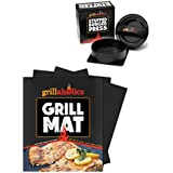 Grillaholics Grill Mat and Stuffed Burger Press Bundle - Includes Set of 2 Non Stick BBQ Grilling Mats and Hamburger Patty Maker for Grilling - Great Gift of BBQ Grill Accessories