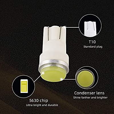 Grandview 10pcs 80 Lumens T10 194 192 175 168 2825 W5W 5630 2SMD Car LED Side Marker Center High Mount Stop Light Bulb Door Courtesy Light Bulbs White: Automotive