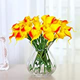 SituMi Artificial Flowers Glass VaseHome Decor,OrangeCalla Lily