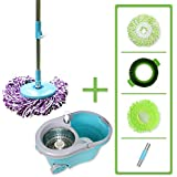 Super Spinner Wet Mop and Bucket with 2 Microfiber Mop Heads, 1 Scrub Brush and 1 Chenille Mop Head | Washable, Reusable | Wet or Dry Cleaning Kitchen, Bathroom, Hardwood Floors
