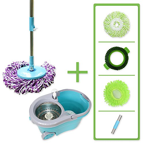 Super Spinner Wet Mop and Bucket with 2 Microfiber Mop Heads, 1 Scrub Brush and 1 Chenille Mop Head | Washable, Reusable | Wet or Dry Cleaning Kitchen, Bathroom, Hardwood Floors Super Bucket