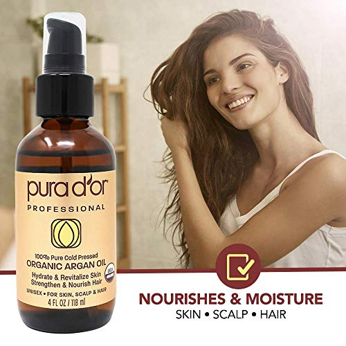 PURA D'OR Moroccan Argan Oil (4oz) Usda Certified Organic 100% Pure Cold Pressed Virgin Premium Grade Moisturizer Treatment for Dry & Damaged Skin, Face, Scalp, hair, Body & Nails (Packaging May Vary)