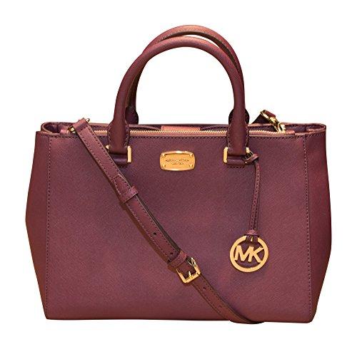 Michael Kors Kellen Medium Leather Satchel Shoulder Bag Handbag, Plum by Michael Kors