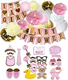 Baby Shower Decorations for Baby Girl Party Supplies - Pink and Gold IT'S A GIRL Garland Banner Tissue Paper Pom-Poms Lanterns, Photo Booth Props, Great New Born Baby Gift Nursery Room Décor