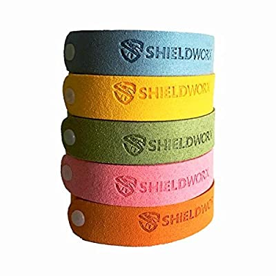 Mosquito Repellent Bracelets - Effective All Natural 100% Plant Based Insect Repllent Microfiber Bands - Pack Of 5 - ShieldWorx By FirstChoice