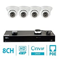 GW Security 8CH H.265 4K NVR 4-Megapixel (2592 x 1520) Plug & Play Security Camera System, 4pcs 4MP 1520p 3.6mm Wide Angle POE Weatherproof Dome IP Cameras, 80ft Night Vision