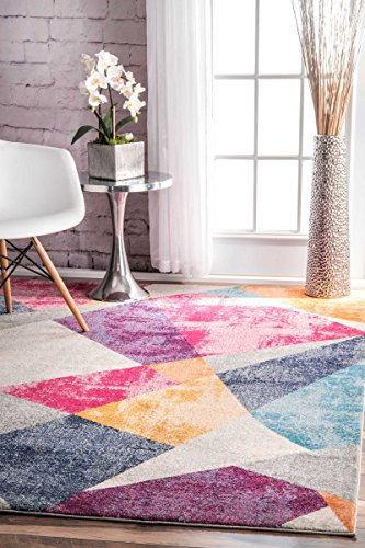nuLOOM RZBD44A Multi Abstract Mosaic Anya Area Rug, 4' x 6', Multicolor