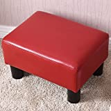 Ottoman Footrest PU Leather Footstool Rectangular Seat Stool Small Red
