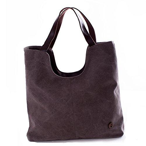 Wholesale Designer Purses (SUNROLAN Womens Canvas Top Handle Designer Handbags Tote Shoulder Bags Purses 1008Brown)