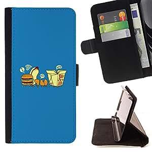 BullDog Case - FOR/HTC Desire 820 / - / Fast Food Parade - Funny /- Monedero de cuero de la PU Llevar cubierta de la caja con el ID Credit Card Slots Flip funda de cuer