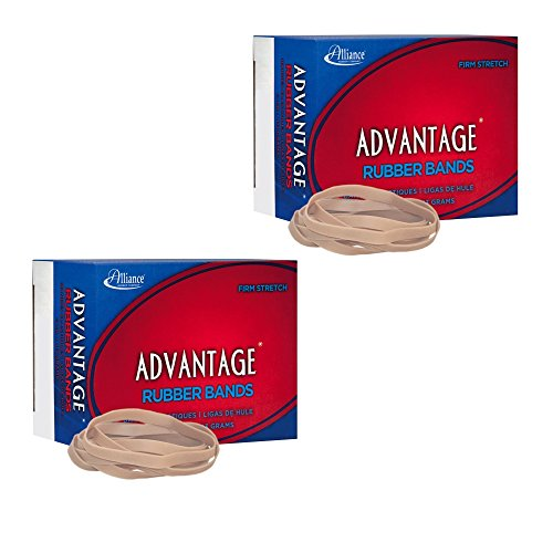 (2-Pack) Alliance Rubber 26649 Advantage Rubber Bands, Size #64, 1/4 lb Box Contains Approx. 80 Bands (3 1/2 x 1/4, Natural Crepe)