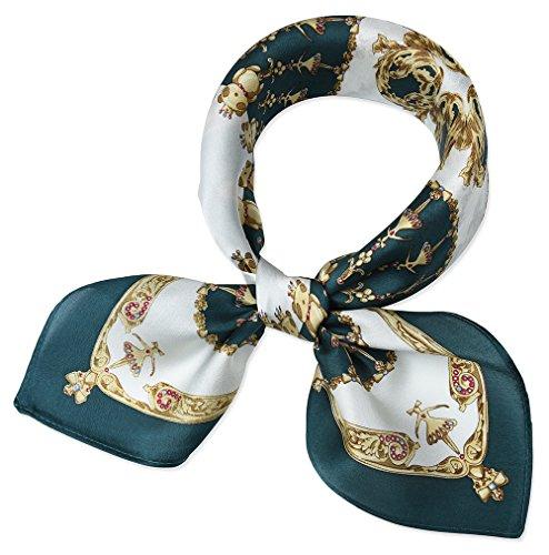 (corciova Women 100% Mulberry Silk Neck Scarf Small Square Scarves Neckerchiefs Deep Jungle Green Round)