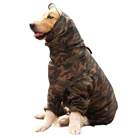 Feidaeu Mascota Perro Impermeable del Abrigo Impermeable Chaqueta de poliéster Ropa para Perros Grandes para Perros