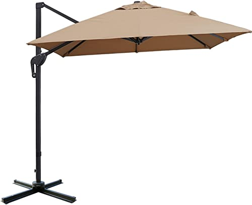 Sunnyglade 10x13ft Patio Offset Hanging Umbrella Rectangular Deluxe Outdoor Cantilever Umbrella
