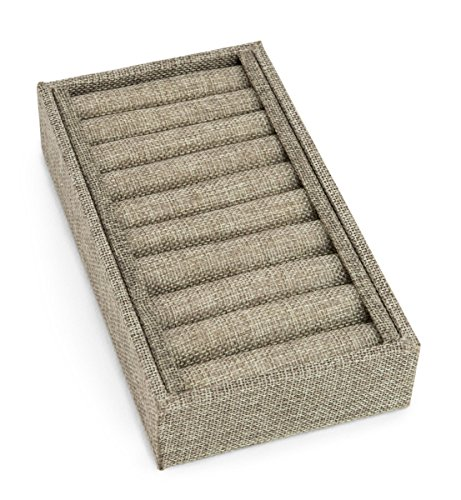 Burlap Slotted Ring and Bangle Display Tray (9 -
