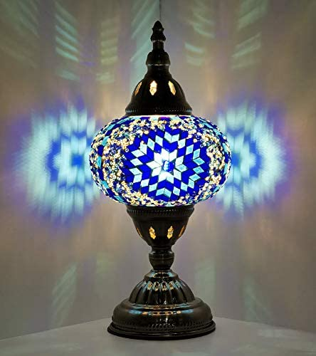 Marrakech Turkish Table Lamp Tiffany Style Blue Lantern Lamp Boho Style Bedside Night Lamp