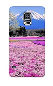 Awesome Ymjnwo-4454-ybicxbu Steverincon Defender Tpu Hard Case Cover For Galaxy S5- Pink Flower Field And Mount Fuji