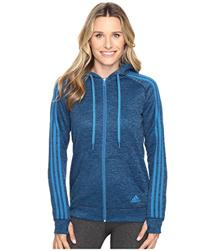 adidas Womens Team Issue Fleece 3-Stripes Full-Zip Hoodie, Unity Blue/Black Heather, X-Small