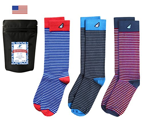 Mens Dress Socks Striped Fun Colorful 3-Pack Awesome Happy, Made in USA - Striped Dress Socks