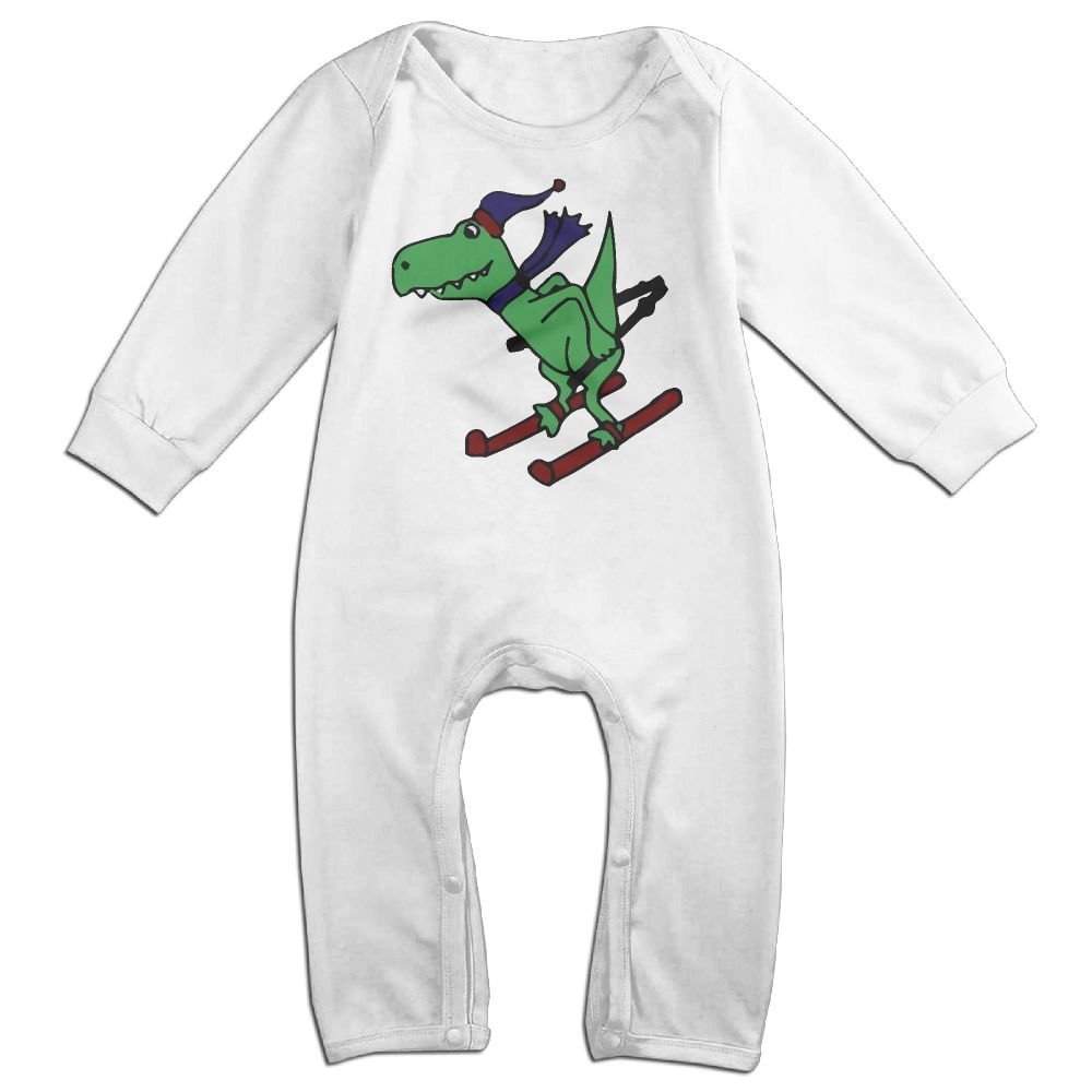 Mrei-leo Toddler Baby Boy Girl Bodysuits Dinosaur Skiing Baby Rompers