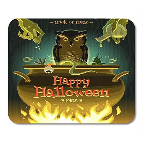 Nakamela Mouse Pads Owl Cooking Halloween Witch Cooks Poison Potion in Cauldron Brew Spell Mouse mats 9.5