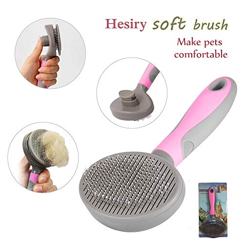 (Hesiry Cat Brush Pet Soft Brush for Shedding Removes Loose Undercoat,Slicker Brush for Pet Massage-Self Cleaning)