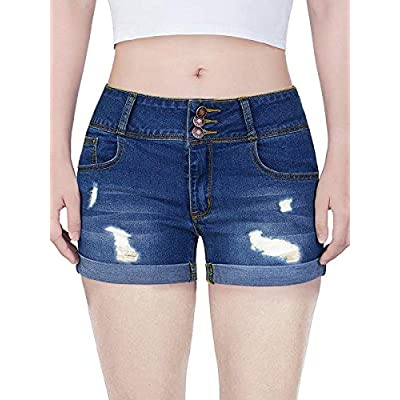 Govc Women Casual Summer Mid Waist Stretchy Denim Jean Shorts Junior Short Jeans at Women's Clothing store